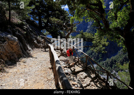 Crete, Samaria national park, stairs and ways in the Samaria gulch - Stock Photo