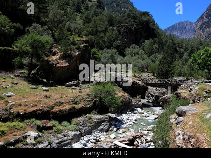 Crete, Samaria national park, scenery in the Samaria gulch, resting place near the desolate village Samaria - Stock Photo