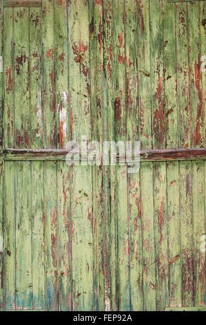 Part of old green wooden door - Stock Photo