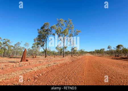 Remote Dirt Road, Gulf Savannah, Queensland, Australia - Stock Photo