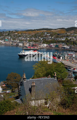 MV Clansman and Mull in Oban bay, Argyll - Stock Photo