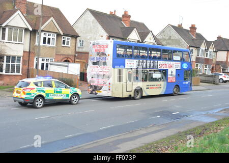 Woman suffers head injury in Tilehurst Road, Reading, Berkshire after bus collides with car. Charles Dye / Alamy - Stock Photo