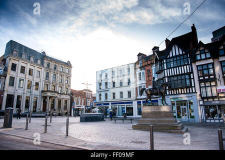 View of Wolverhampton city centre from Queen's Square early in the morning with no traffic - Stock Photo