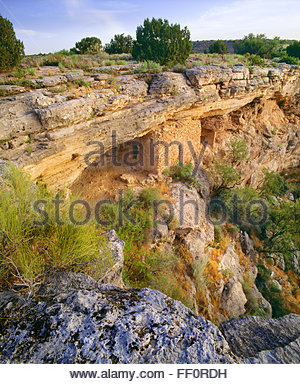 Sinagua culture cliff dwelling below the rim of 'Montezuma Well'  [Montezuma Castle National Monument] Arizona - Stock Photo