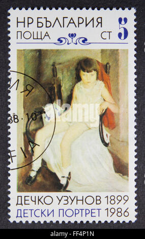A stamp printed in Bulgaria, shows painting, 1986 - Stock Photo