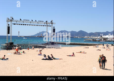 2012 - Cannes  Beach in Cannes. - Stock Photo