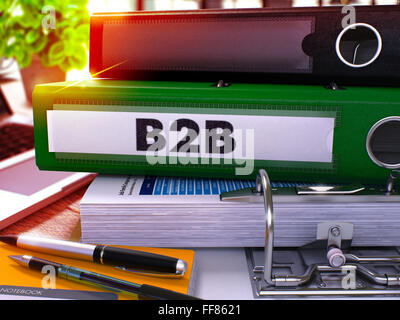 Green Office Folder with Inscription B2b - Stock Photo