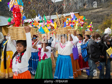 Santiago Apoala, Oaxaca, Mexico - Residents of a small Mixtec mountain town participate in their pre-Lenten Carnival - Stock Photo