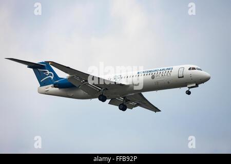 Montenegro Airlines, airliner, in flight - Stock Photo