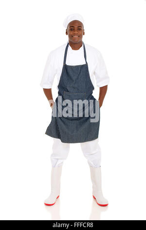 full length afro American male butcher posing on white background - Stock Photo