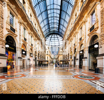 MILAN, ITALY - AUGUST 29, 2015: Luxury Store in Galleria Vittorio Emanuele II shopping mall in Milan, tasted Italian - Stock Photo