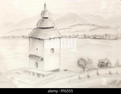 Sketch kaplnka  in nature. Architectural pencil sketch - Stock Photo