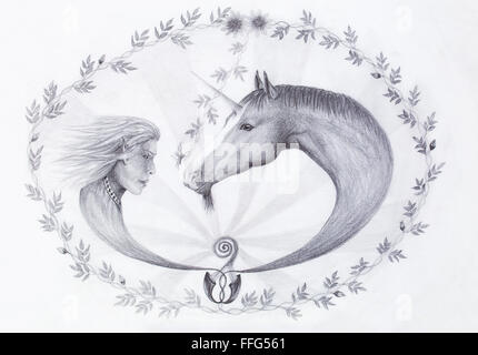 Hand drawing Elf and unicorn with beautiful flower. Draw on vintage paper. Profile portrait - Stock Photo