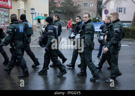 Worms, Germany. 13th February 2016.  Around 80 members of the right wing party 'Der III. Weg' (The third way) marched - Stock Photo