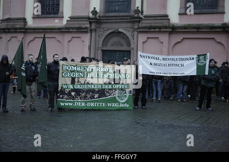 Worms, Germany. 13th February 2016. The right wing protesters hold a small rally at the market square of Worms. - Stock Photo