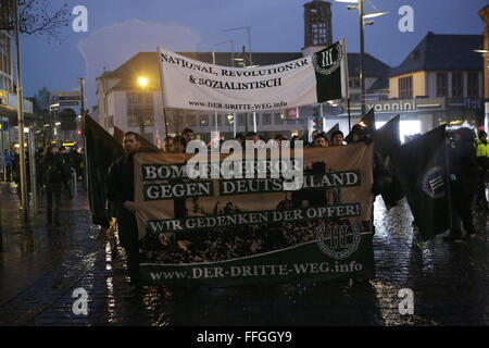 Worms, Germany. 13th February 2016. The right wing protesters march through Worms. The banner reads 'Terror bombing - Stock Photo