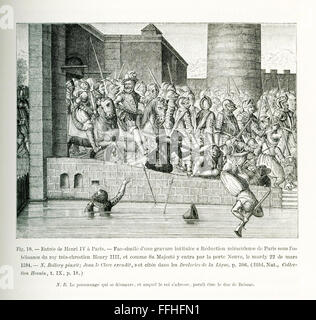 This engraving shows the entry of Henry IV in Paris with more than 1,000 armed cavalry, known as cuirassiers. The - Stock Photo