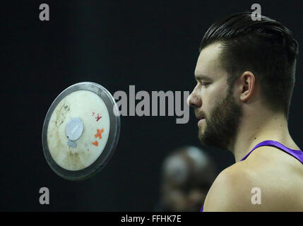Berlin, Germany. 13th Feb, 2016. Discus thrower Martin Wierig of Germany pictured at the ISTAF indoor athletics - Stock Photo