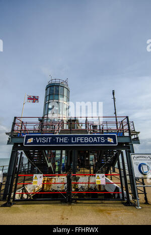 RNLI Lifeboat station on Southend Pier, which is a major landmark in Southend on Sea, Essex in the Thames Estuary. - Stock Photo