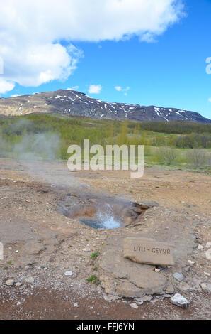 GEYSIR, ICELAND - JUN 14:  Litli Geysir, shown in Geysir, Iceland, on June 14, 2015, is one of thirty small geysers - Stock Photo