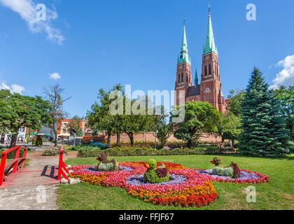 Poland, southwestern Poland, Silesian Voivodship, Rybnik, neo-Gothic red-brick facade of St. Antonio's Basilica - Stock Photo