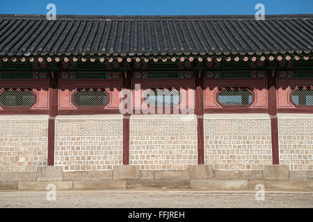 wall pattern and art taken in the  Gyeongbokgung Palace in seoul south korea. - Stock Photo