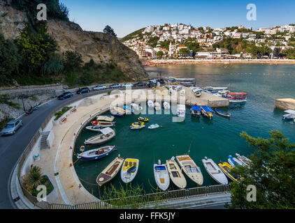 Small fishing boats marina. Ulcinj, Montenegro. - Stock Photo