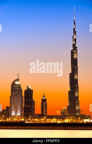 DUBAI, UAE - FEBRUARY 10: Burj Khalifa facade on February 10, 2014 in Dubai, UAE. Burj Khalifa is a tallest building - Stock Photo