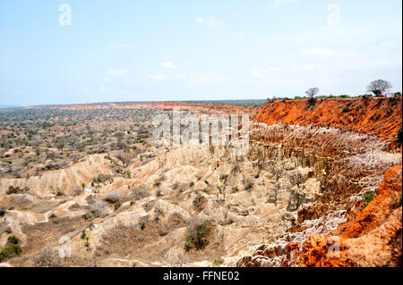 Miradouro da Lua is a set of cliffs 40 km south of Luanda, Angola. Over time, erosion caused by wind and rain creating - Stock Photo
