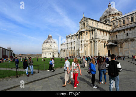 Summer view of the Duomo Cathedral, with tourists, Square of Miracles, Pisa city, UNESCO World Heritag - Stock Photo