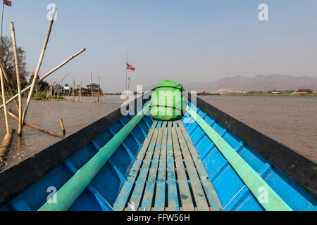 Typical boats used to transport on the lake.  Inle lake shan state Myanmar, Burma - Stock Photo
