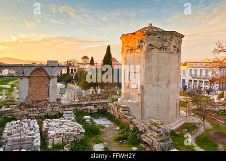 Remains of the Roman Agora and Tower of the Winds in Athens, Greece. - Stock Photo