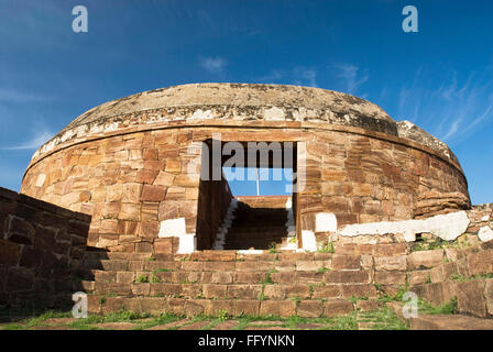 Circular watch tower in 14th century North Fort in Badami , Karnataka , India - Stock Photo
