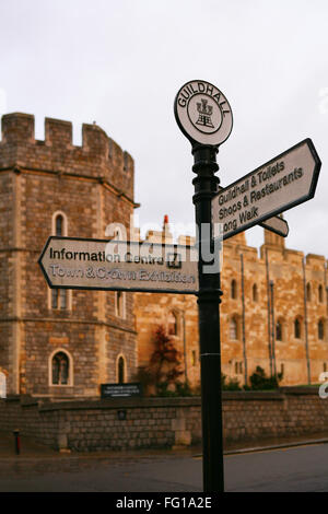 Sign Post in front of Windsor Castle - Stock Photo