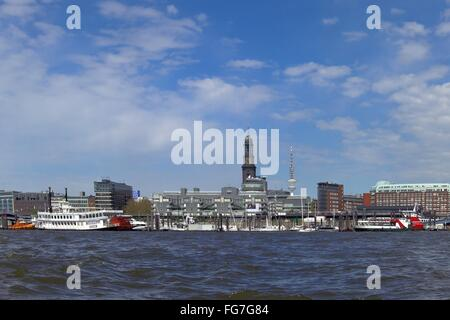 geography / travel, Germany, Hamburg, city view, view from the Elbe river towards the Hamburg Michel, , Additional - Stock Photo