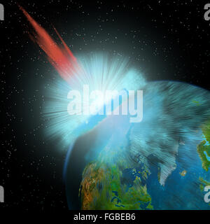 An asteroid hits the Earth near the North Pole causing enormous damage to surrounding areas. - Stock Photo