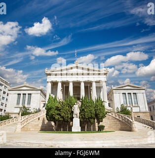 Athens - The National Library designed by the Danish architect Theophil Freiherr von Hansen (19. cent.) - Stock Photo