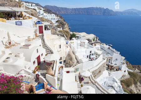 SANTORINI, GREECE - OCTOBER 4, 2015: The look from Oia to east with the Imerovigli and Scaros in the background. - Stock Photo