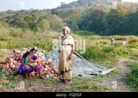rural life in Thekkady, Periyar, Kerala, South India - Stock Photo