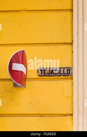 Bent no entry traffic road sign against tejadillo at Havana, Cuba, West Indies, Caribbean, Central America - Stock Photo