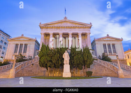 Athens - The National Library building at dusk designed by the Danish architect Theophil Freiherr von Hansen (19. - Stock Photo