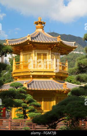 Pagoda in Nan Lian Garden at Chi Lin Nunnery, Diamond Hill, Kowloon, Hong Kong - Stock Photo