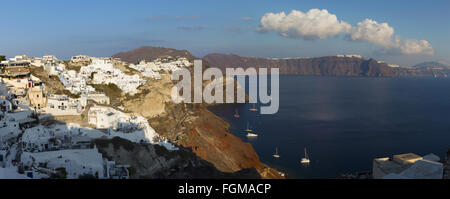 SANTORINI, GREECE - OCTOBER 6, 2015: The look from Oia to east in evening light. - Stock Photo
