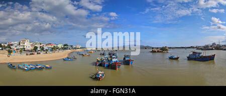 Fishing boats in harbor at Nha Trang, Vietnam. Panoramic view - Stock Photo