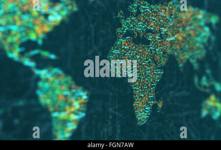 The map of the world represented by illuminated digital connections. 3D image with depth of field on a LED screen. - Stock Photo