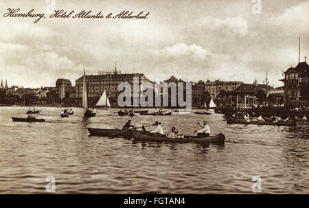 geography / travel historic, Germany, cities and communities, Hamburg, Outer Alster, Hotel Atlantic, picture postcard, - Stock Photo