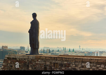 BUDAPEST, HUNGARY - FEBRUARY 02: Bronze statue of Virgin Mary by sculptor Laszlo Matyassy outside Buda Castle, overlooking - Stock Photo