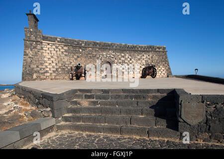 Castillo de San Gabriel now Museo de historia, promenade Arrecife town, Lanzarote island, Canary archipelago, Spain, - Stock Photo