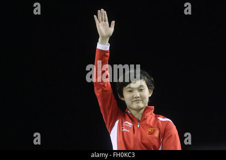 Rio De Janeiro, Brazil. 22nd Feb, 2016. China's gold medalist Ren Qian waves during the awards ceremony of women's - Stock Photo