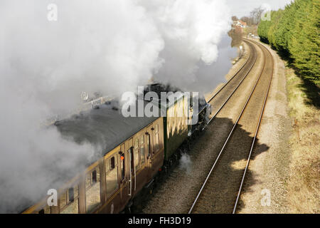 """York, UK. 23rd February, 2016. Newly restored LNER A3 class locomotive """"Flying Scotsman"""" leaves York on its way - Stock Photo"""
